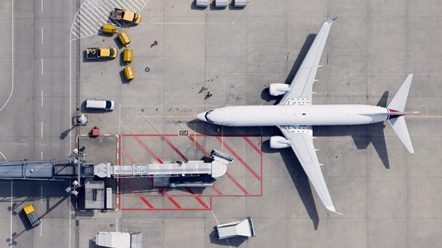 White airplane at airport